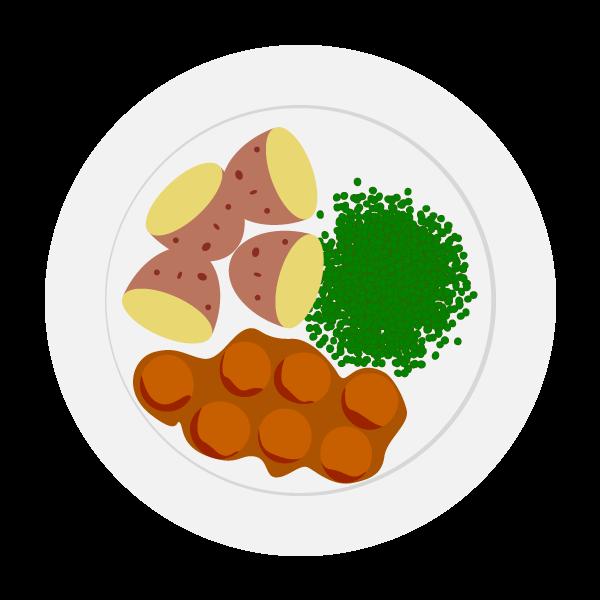 Meal meatballs and potato